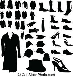 beklädnad, skodon, huvudbonad