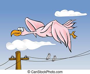 beklæde, fugl, magt