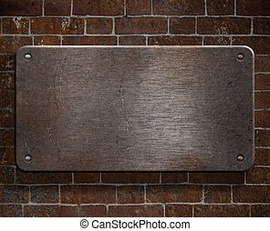 beklæde, grunge, mur, metal, baggrund, mursten, nitter