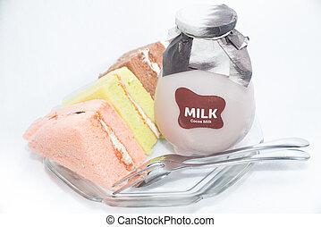 beklæde, kager, flaske, chiffon, mælk