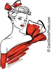 beklæde, mode, kunst, illustration