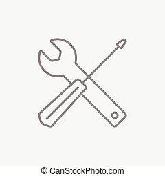 beklæde, redskaberne, Skruetrækker, ikon, Skiftenøgl