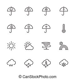 beklæde, vejr, icons.