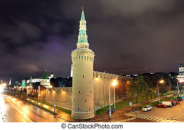 Beklemishev (Moskvoretskaya) Tower of Moscow Kremlin at Red Square in Moscow ,Russia