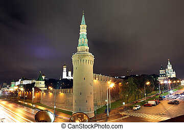 Beklemishev (Moskvoretskaya) Tower of Moscow Kremlin at Red Square in Moscow summer, Russia
