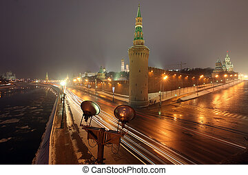 Beklemishev (Moskvoretskaya) Tower of Moscow Kremlin at Red Square in Moscow winter, Russia