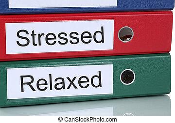 beklemtoonde, en, ontspannen, gezondheidszorg, in, kantoor, handel concept