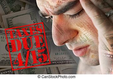 beklemtoonde, op, belastingen, schuldig