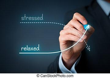 beklemtoonde, tegen, ontspannen