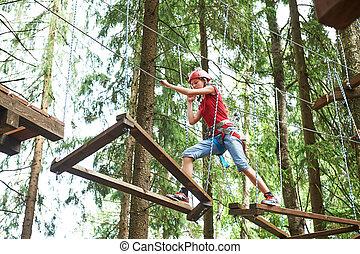 beklimming, bos, park, hoog, meisje, activiteit, draad