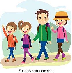 beklimming, gezin, vrolijke