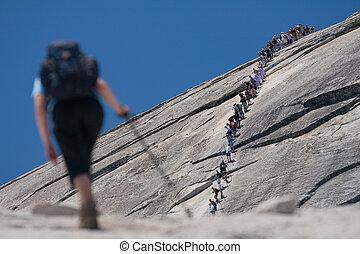 beklimming, hikers, rots