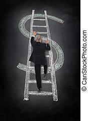 beklimming, ladder, dollar