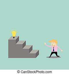 beklimming, ladder, idee, zakenman