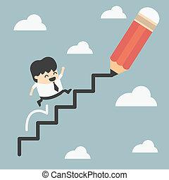 beklimming, ladder, succes