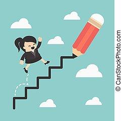 beklimming, ladder, vrouw, succes, zakelijk