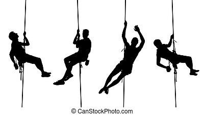 beklimming, silhouettes, vrijstaand