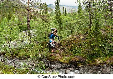 beklimming, trakking, groep, heuvels, mensen
