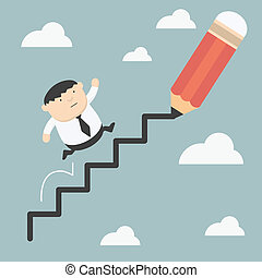 beklimmingen, ladder, dik, zakelijk, succes