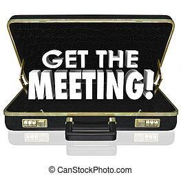 bekommen, der, versammlung, schwarze aktentasche, wörter, klient, kunde, verkäufe, rufen