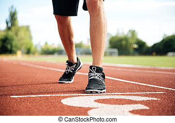 bekommen, sprinter, bild, kupiert, start, bereit