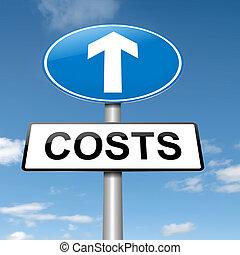 bekostningen, forhøje, concept.
