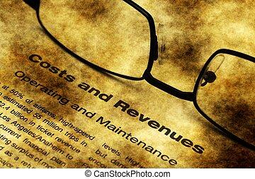 bekostningen, og, revenue, grunge, begreb