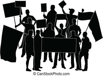 bekundung, -, a, menschengruppe, protestieren
