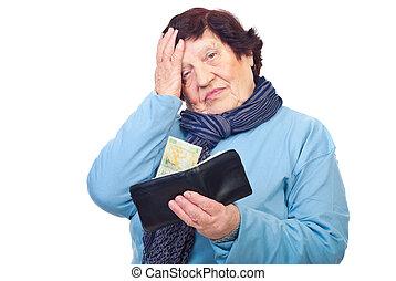 bekymrat, pensionären, hålla, plånbok, med, senast, penny