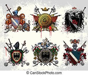 belægge, heraldiske, arme