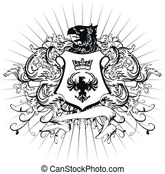 belægge, heraldiske, ornamentere, arme, 3