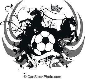 belægge, heraldiske, soccer, arme, 4