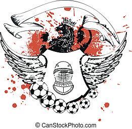 belægge, heraldiske, soccer, arme, crest2