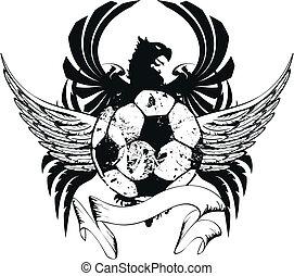belægge, heraldiske, soccer, arme, crest3