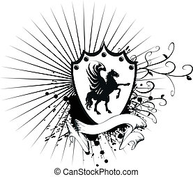 belægge, hest, heraldiske, 7, arme