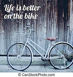 belélegzési, motiváció, árajánlatot tesz, képben látható, öreg, szüret, bicikli