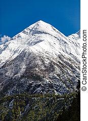 belélegzési, táj, himalaya, hegyek, alatt, nepál