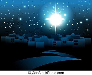 belén, navidad, estrella, ilustración