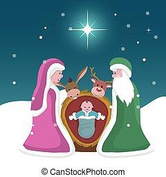 belén, tarjeta, estrella, jesús, navidad, nacimiento