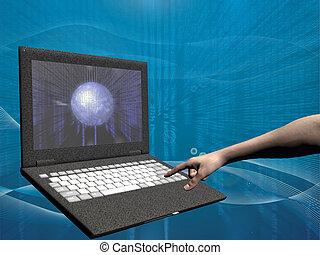 belépés, laptop, internet