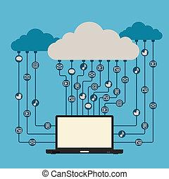 belépés, média, felhő