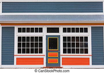 belépés, színes, faház, elülső, kicsi, bolt