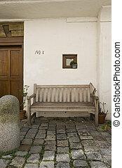 belépés, terület, fordíts, egy, épület, noha, bírói szék, és, cobblestone, útburkolat