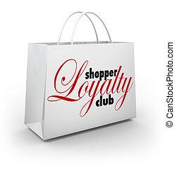 belönar, inköp, shopper, klubba, lojalitet, väska, program, ...