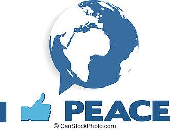 bel, globe, toespraak, zoals, peace;