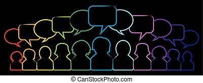 bel, iconen, toespraak, mensen