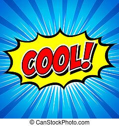 bel, komisch, toespraak, cool!, spotprent