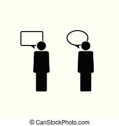 bel, pictogram, toespraak, illustratie, mensen