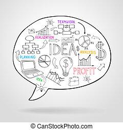 bel, planning, toespraak, handel strategie