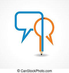 bel, potlood, boodschap, maken
